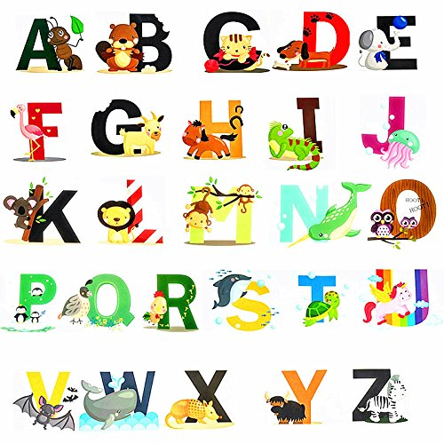 Fun Educational Alphabet with Animals for Baby Nursery and Kids Rooms,Wall Decor Easy Peel Stickers Decals,ABC Stickers Alphabet Decals,DIY Alphabet Gifts