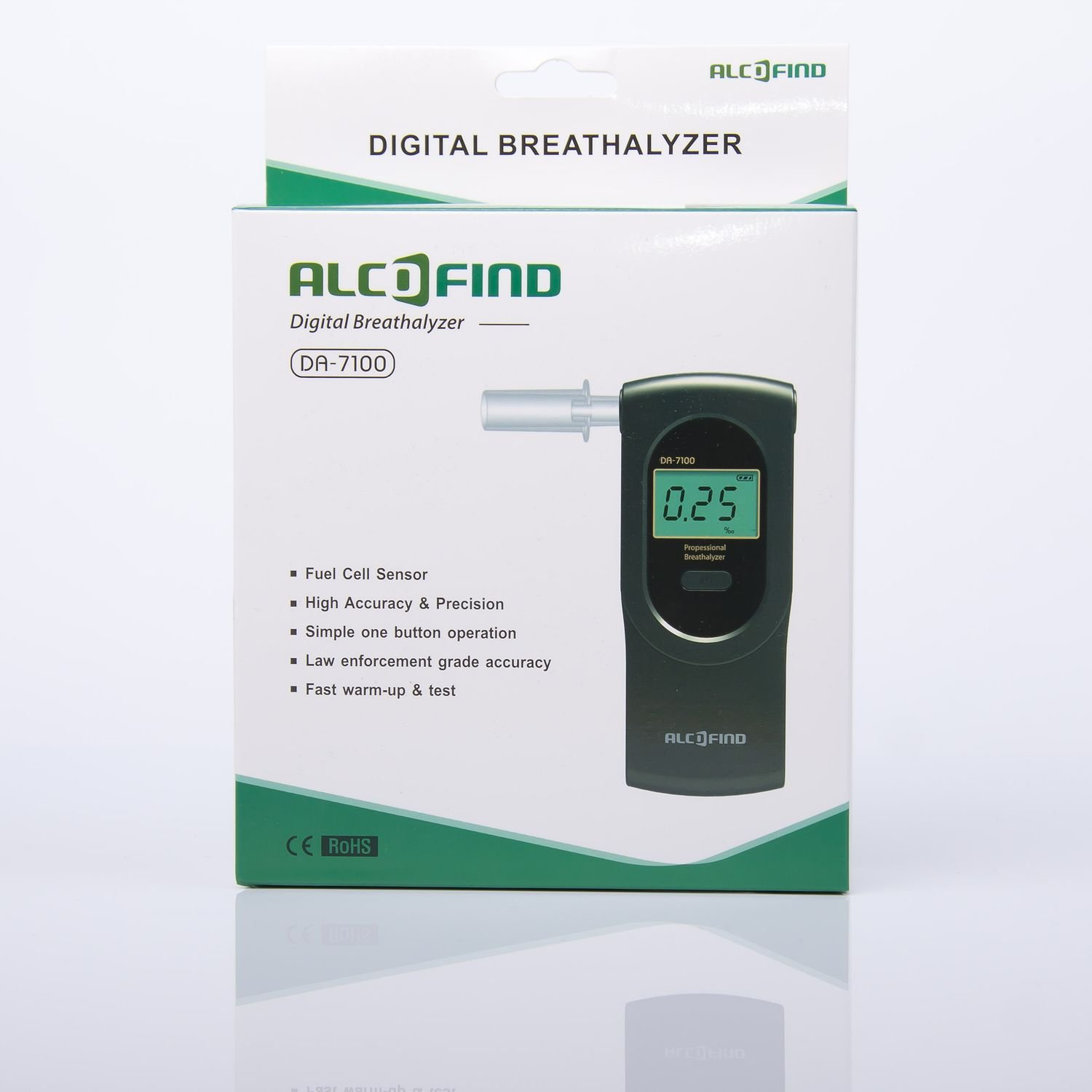 Calibration every 500 uses or once a year 0.05 /‰ Best accuracy Best certified breathalyser AlcoFind DA-7100