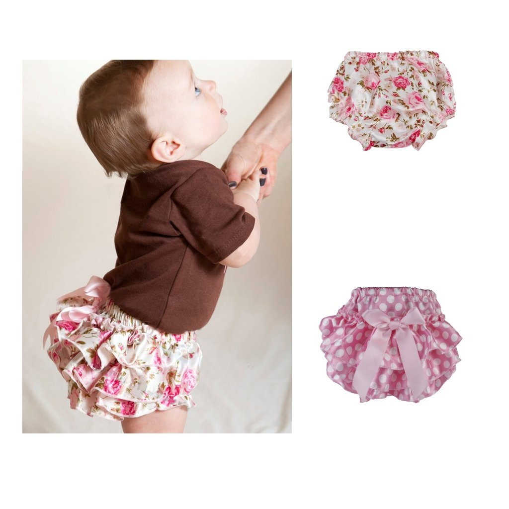 Baoblaze 2Pcs Infant Baby Baby Girls Diaper Pant Washable Reusable Breathable Cover