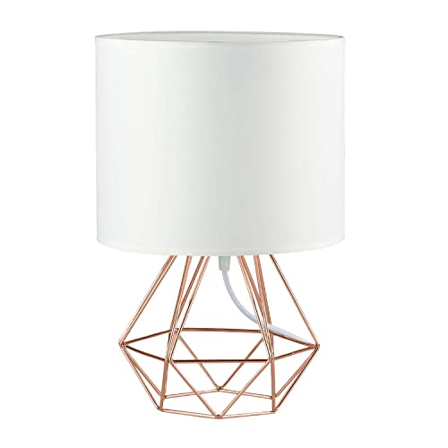 Modern Vintage Style Table Lamps – FRIDEKO Ecopower Minimalist Bedside Lamp Night Light Copper Fabric Light Shade Hollowed Out Cage Base Desk Lighting Fixture Best Gift for Girl – White – Rose Gold