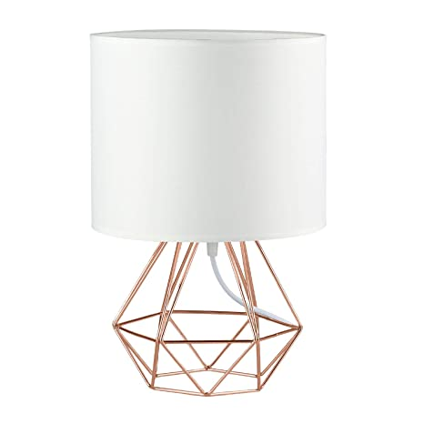 Modern Vintage Style Table Lamps Frideko Ecopower Minimalist Bedside Lamp Night Light Copper Fabric Light Shade Hollowed Out Cage Base Desk Lighting