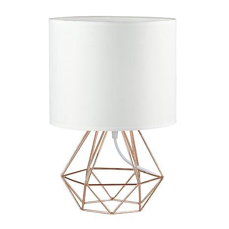 Modern Vintage Style Table Lamps   FRIDEKO Ecopower Minimalist Bedside Lamp  Night Light Copper Fabric Light Shade ...
