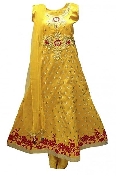 Krishna Sarees Traje Churidar de mostaza y oro CS6077 Indian Bollywood Churidar Suit XL (Full