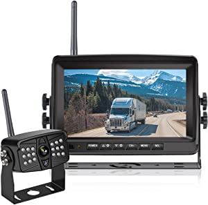 HD Digital Wireless Backup Camera Kit, Niloghap IP69 Waterproof Rear View Camera and 7″ Split/Quad Screen DVR Monitor, High-Speed Observation System for Trailers, Trucks, Motorhomes, 5th Wheel, Bus