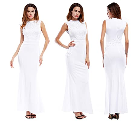 Women's Dress Xinantime Lace Chiffon Dress Evening Dress Bridesmaid Dresses (M, White)