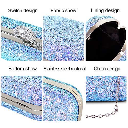 Blue women Sparkling Beautier Handbags color Party Purse Evening Multi Elegant for qxOnTP1