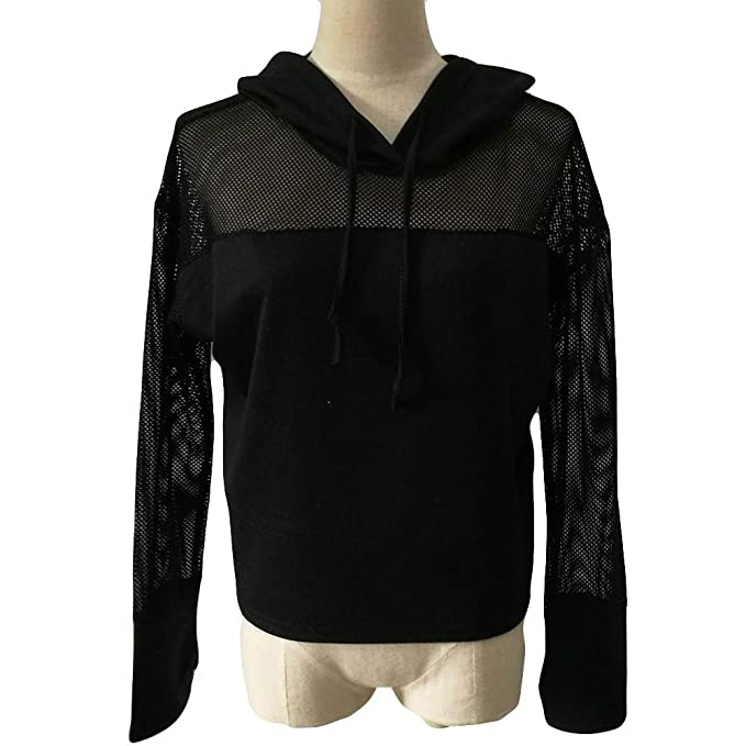 Amazon.com: FimKaul Womens Sexy Long Sleeve Pullover Splicing Top Shirts See-Through Sheer Mesh Hoodies: Clothing
