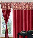 GeoNature Polyester Window Maroon All Over Curtains set of 2 Size (4x5Feet) WIN350