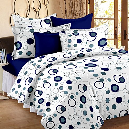 Story@Home Magic 152TC Cotton Double Bedsheet with 2 Pillow Covers – Blue Cotton Bedsheets For Double Bed