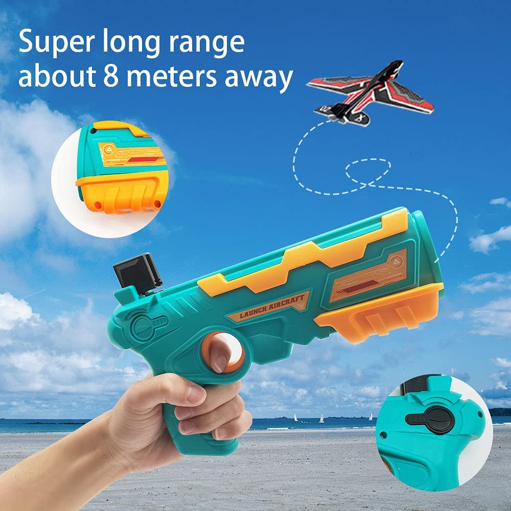 Shinyeagle Catapult Plane Gun,One-Click Ejection Model Foam Airplane with 10 Pcs Glider Airplane Launcher Blue Outdoor Sports Gifts 2021 New Hot Toy for Kids