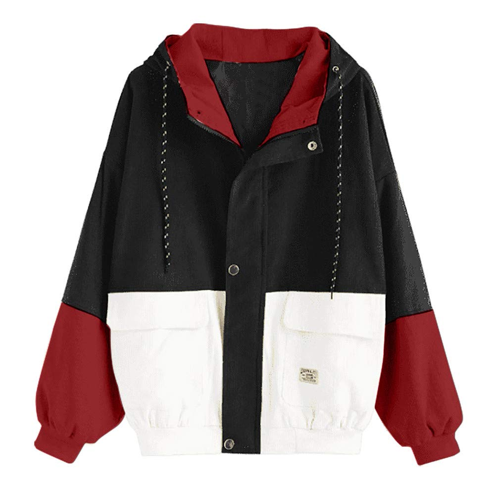 Pandaie Women Fall Winter Short Jacket Hooded Corduroy Color Block Windbreaker Coat Outdoor Jacket Oversize Black by Pandaie