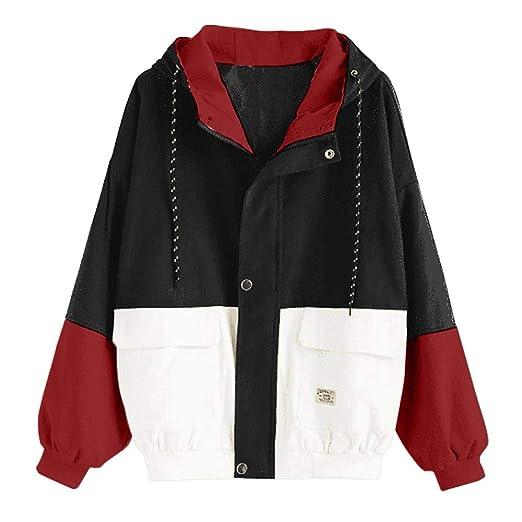 aa44c5cfd HHei_K Womens Vintage Long Sleeve Hoodie Corduroy Patchwork Pockets Jacket  Oversized Hooded Windbreaker Coat