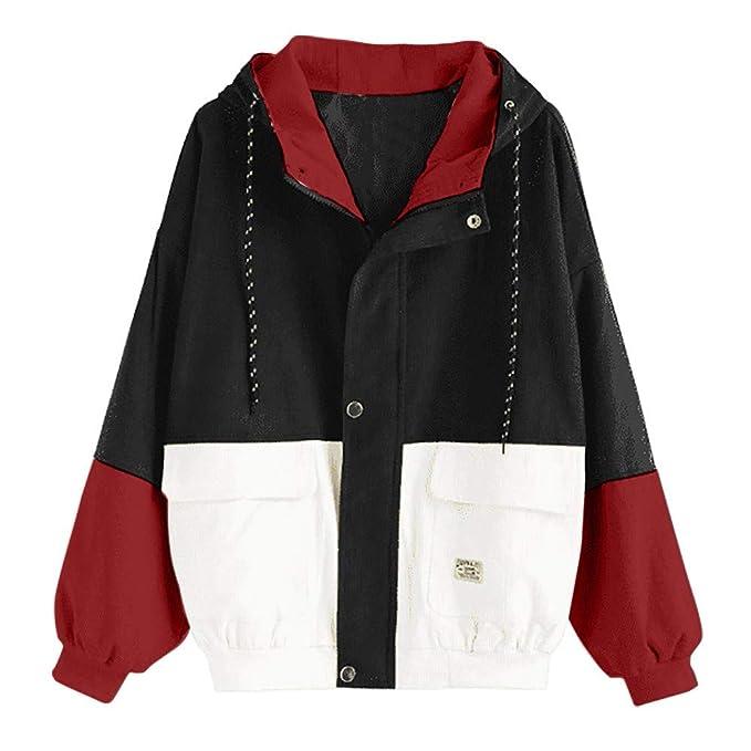 AOJIAN Womens Jacket Vintage Long Sleeve Hoodie Corduroy Patchwork Pockets Oversized Hooded Windbreaker Coat