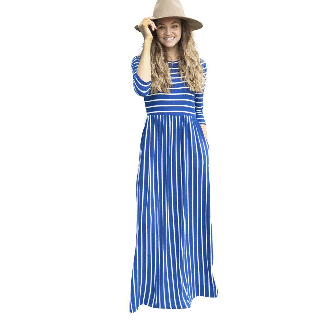 ✔ Hypothesis_X ☎ Women Long Sleeve Casual Long Maxi Dress Pocket Loose Striped Print Bohemian Long Dress Blue by ✔ Hypothesis_X ☎ Dress