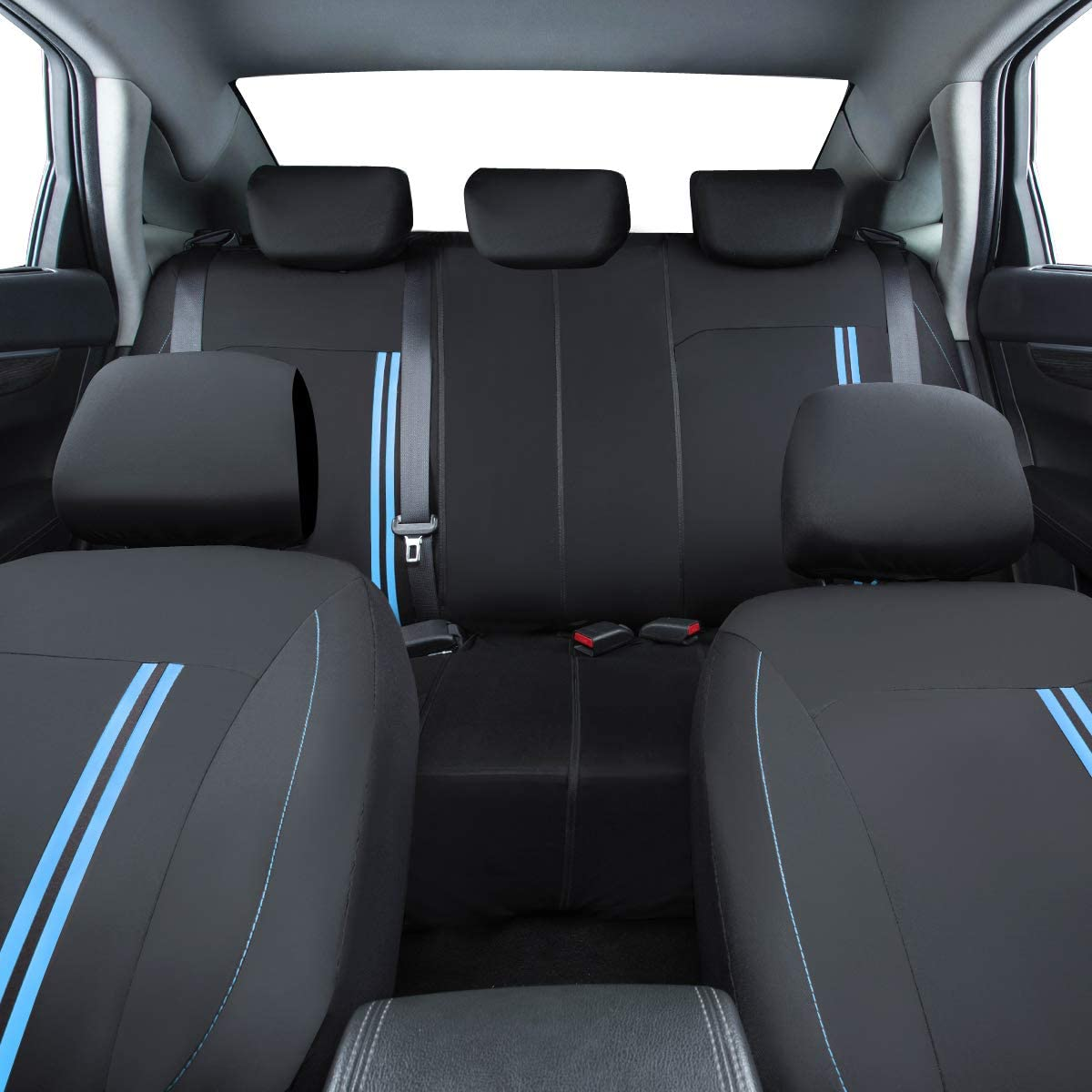 Black with Blue CAR PASS Sporty Strip Full Set Universal Car Seat Cover,Airbag Compatible Fit for Suvs,Vans,Sedans