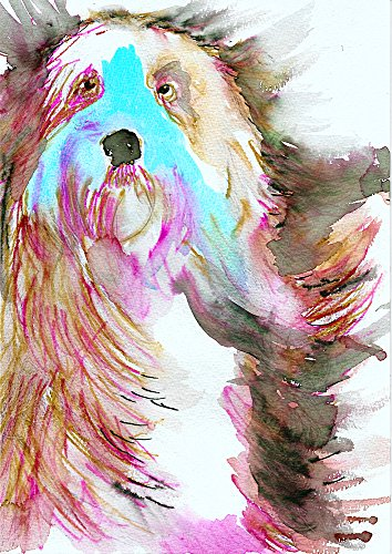 Colorful Old English Sheepdog Wall Art, Old English Sheepdog Mom Gift , Old English Sheepdog Owner, Old English Sheepdog Modern Art Print