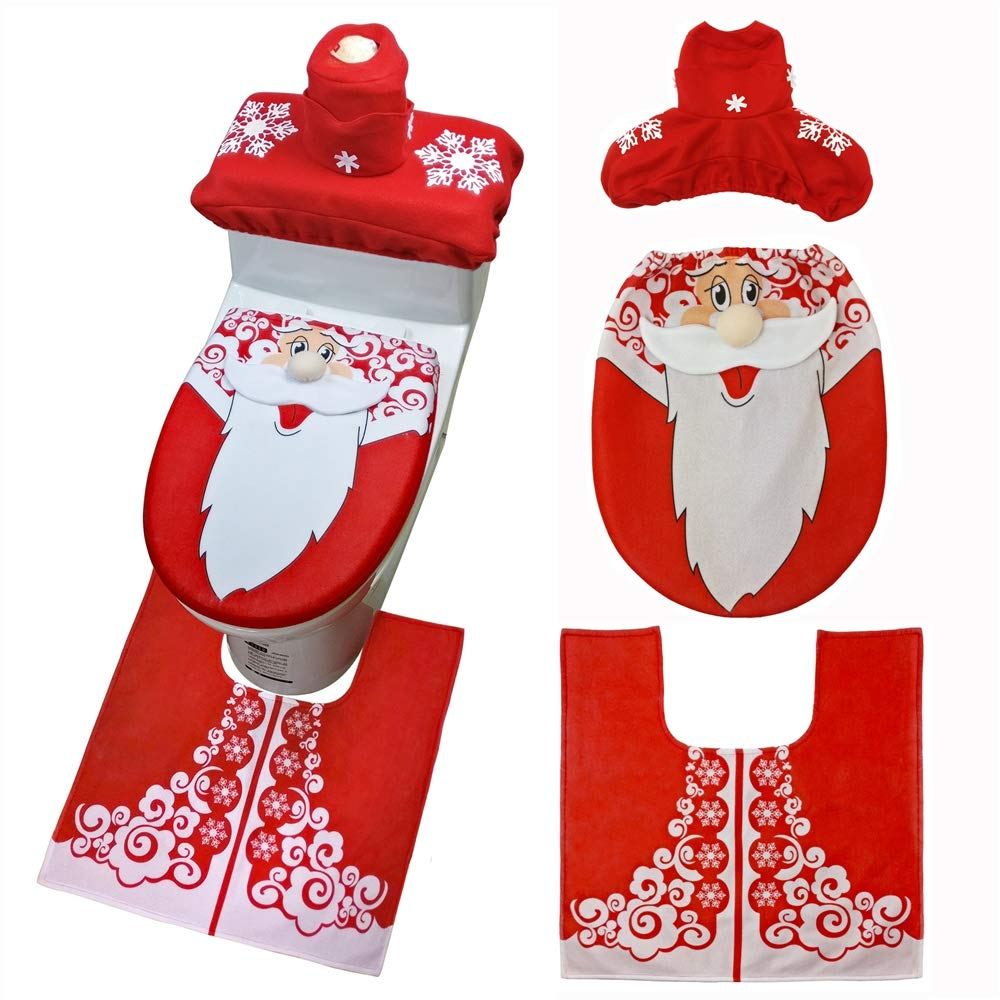 ZhangHongJ,Christmas Snowman Toilet Cover Happy Santa Claus Toilet Decorative Carpet Cover(color:MULTI-A)