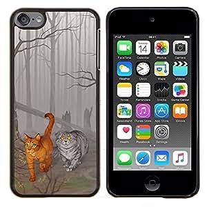 """Be-Star Único Patrón Plástico Duro Fundas Cover Cubre Hard Case Cover Para iPod Touch 6 ( Gatos cuento de hadas lindo Dibujo Bosque Gris Arte"""" )"""