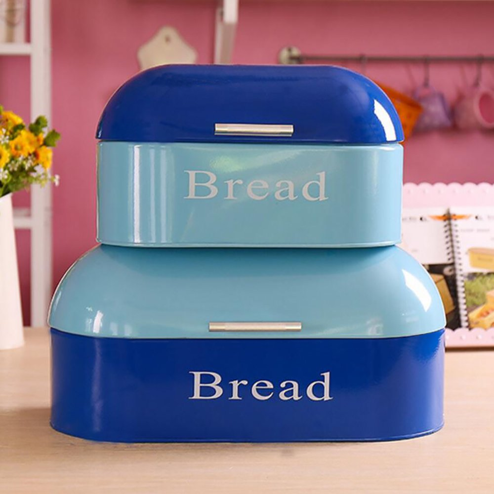 KWELS Vintage Americana Bread Box Bin Storage Container Set of 2, Blue