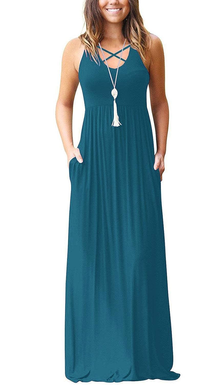 95283b6a6c0 INFITTY Women s Sleeveless Racerback Maxi Dresses with Pockets Plain Loose  High Waisted Long Dresses
