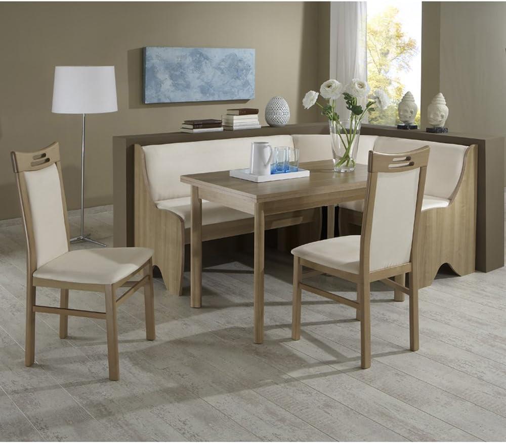 Barolo Corner Bench Set Dining Table 2 Chairs Noce Decor Amazon Co Uk Garden Outdoors
