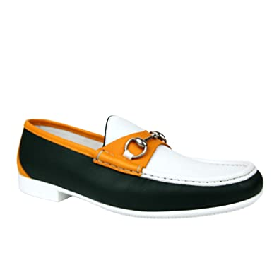 206a23943 Gucci Horsebit White/Dark Green/Orange Leather Loafer Moccasin 337060 AYO70  3060 (8