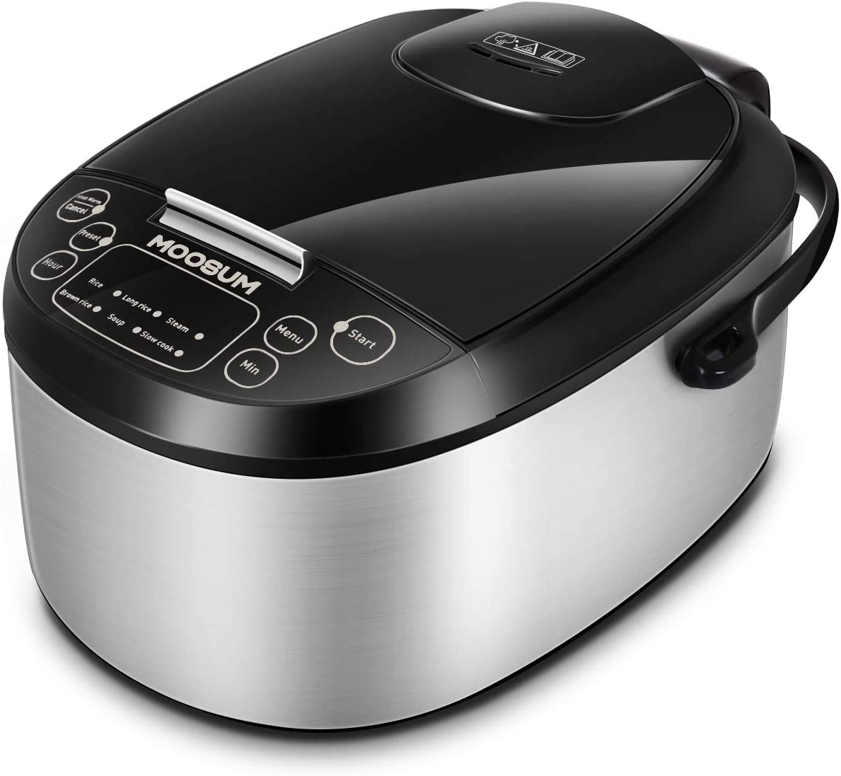Moosum Electric Rice Cooker, 6-in-1 Steel Cooker, Multi-use Programmable Slow Cooker, Sauté, Stew Pot, Soup Pot, Steamer, Food Warmer, Stainless Steel, 1.8L/10-Cup (Uncooked)