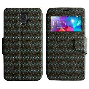 LEOCASE zig zag Funda Carcasa Cuero Tapa Case Para Samsung Galaxy S5 I9600 No.1004632