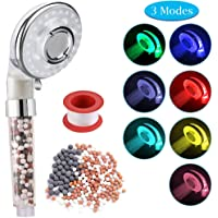 Rovtop LED Shower Head with 3 Modes, Double Filter System Spray Head 7 Colors Handheld High Pressure Spa Showerhead, 3 Spray Modes High Pressure Ionic Filtration Shower Head, with Mineral Balls