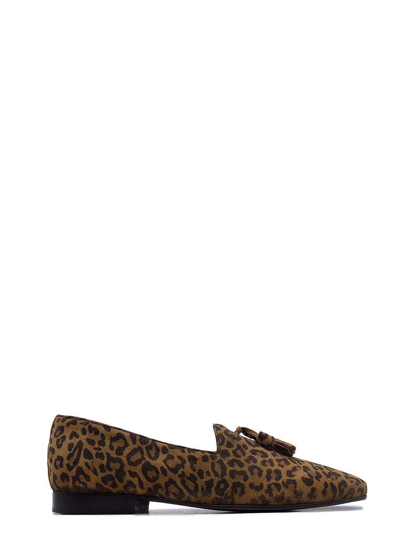 - LEQARANT Men's 7002ANIMALIER Beige Leather Loafers