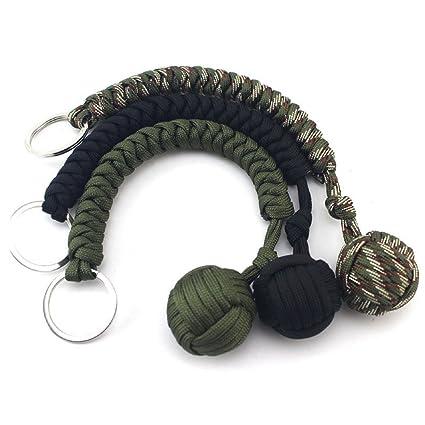 Rokoo Al aire libre autodefensa de siete núcleos de cuerda Paraguas Mountaineer supervivencia llavero colgante tejida a mano bola redonda