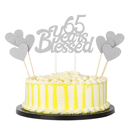 PALASASA 6pc Silver Love Star And Single Sided Glitter 65 Years Blessed Cake Topper For