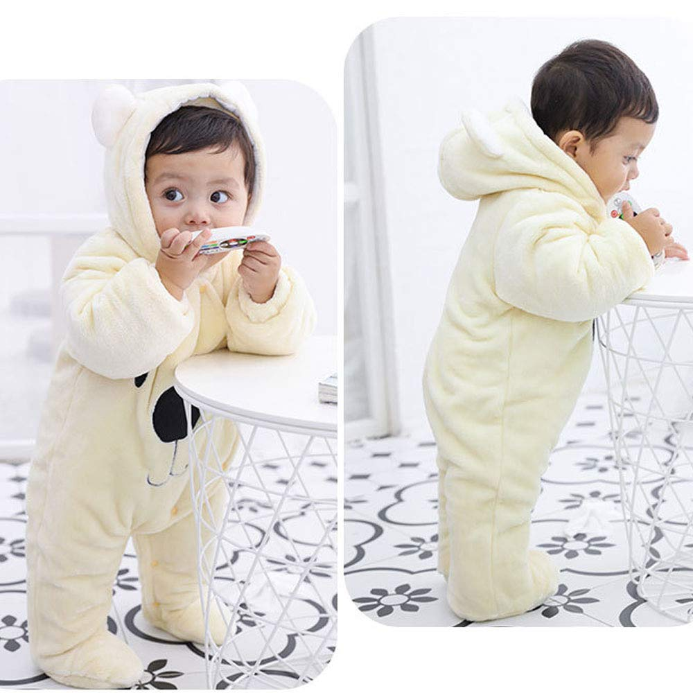 Ancia Jolly Newborn Baby Boy Girl Winter Jumpsuit Outfit Hooded Thick Bodysuit Romper