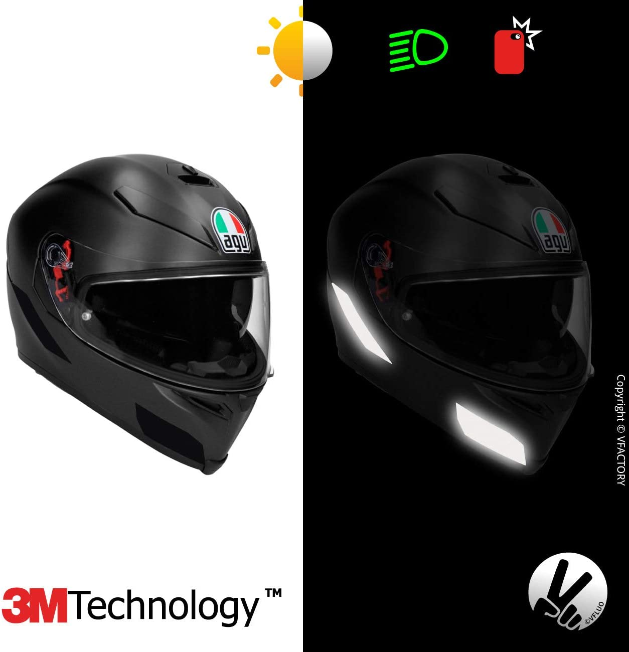 3M Technology VFLUO KS 5 Black retro reflective 5 stickers kit made for AGV KS 5 and adaptable to all helmets