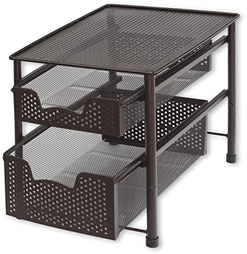 SimpleHouseware Stackable 2 Tier Sliding Basket Organizer Drawer, (Pull Out Organizer)