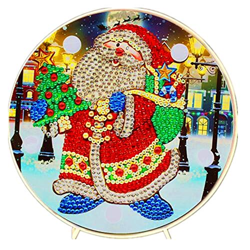 DIY Diamond Painting Lamp with LED Lights Full Drill Crystal Drawing Kit Bedside Night Light Arts Crafts for Home Decoration or Christmas Gifts 6.0x6.0inch(Santa Claus)