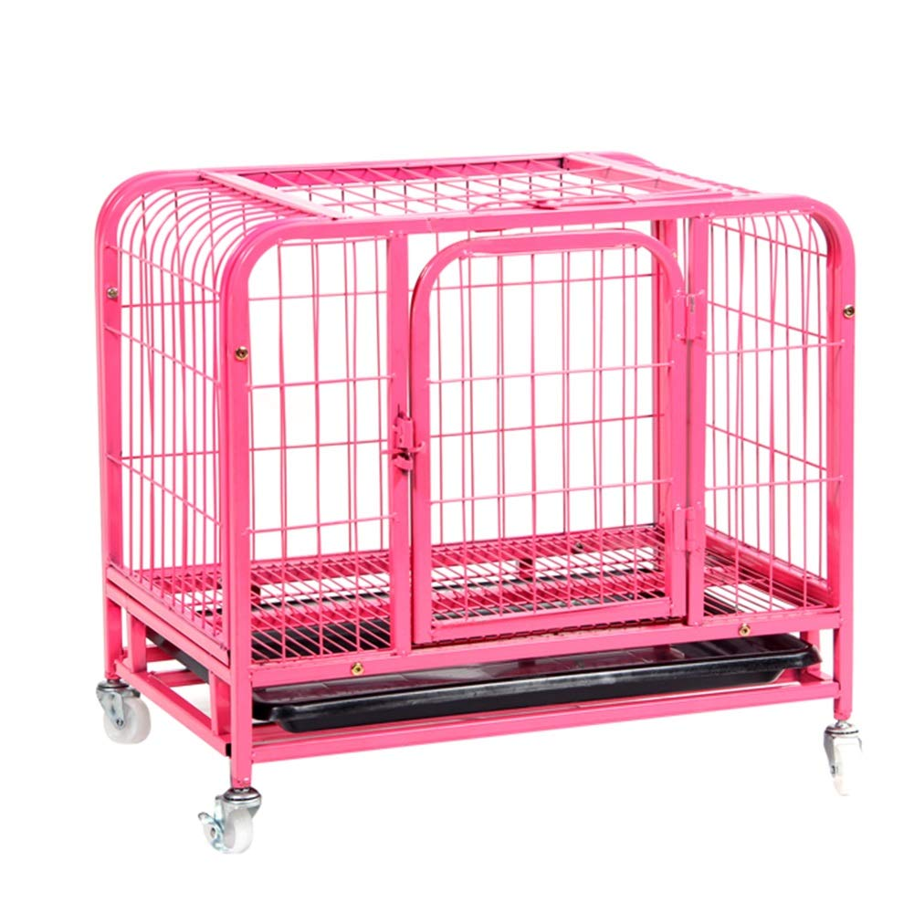 60×45×55cm Pet Playpens Portable Metal Pet Exercise and Playpen with Door, Animal Fence Cage, Pink