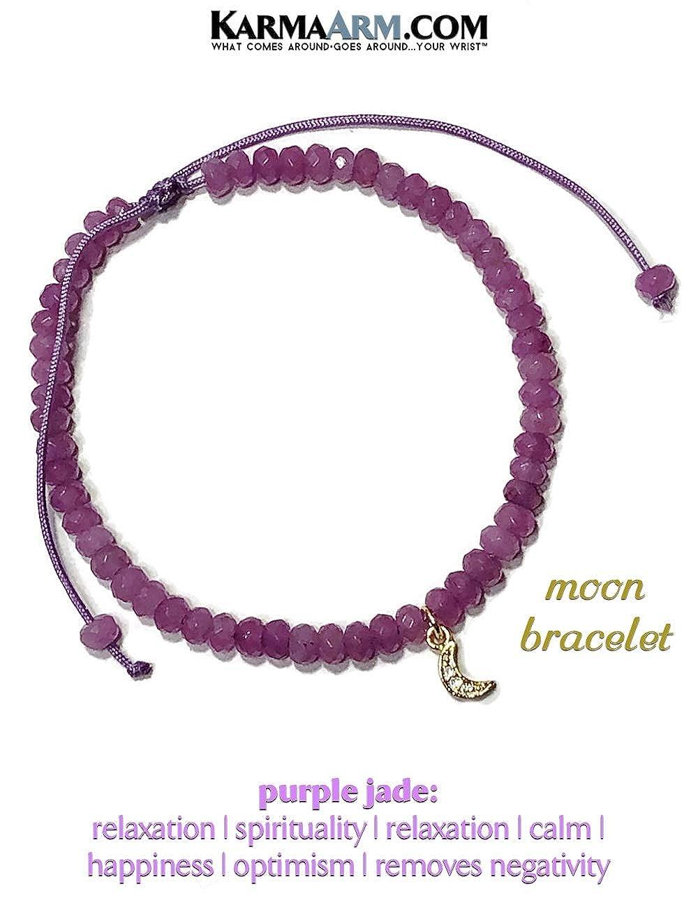 KarmaArm Moon Charm Bracelet Tiny Treasures Purple Jade Adjustable Reiki Meditation Lucky Knot Bracelet