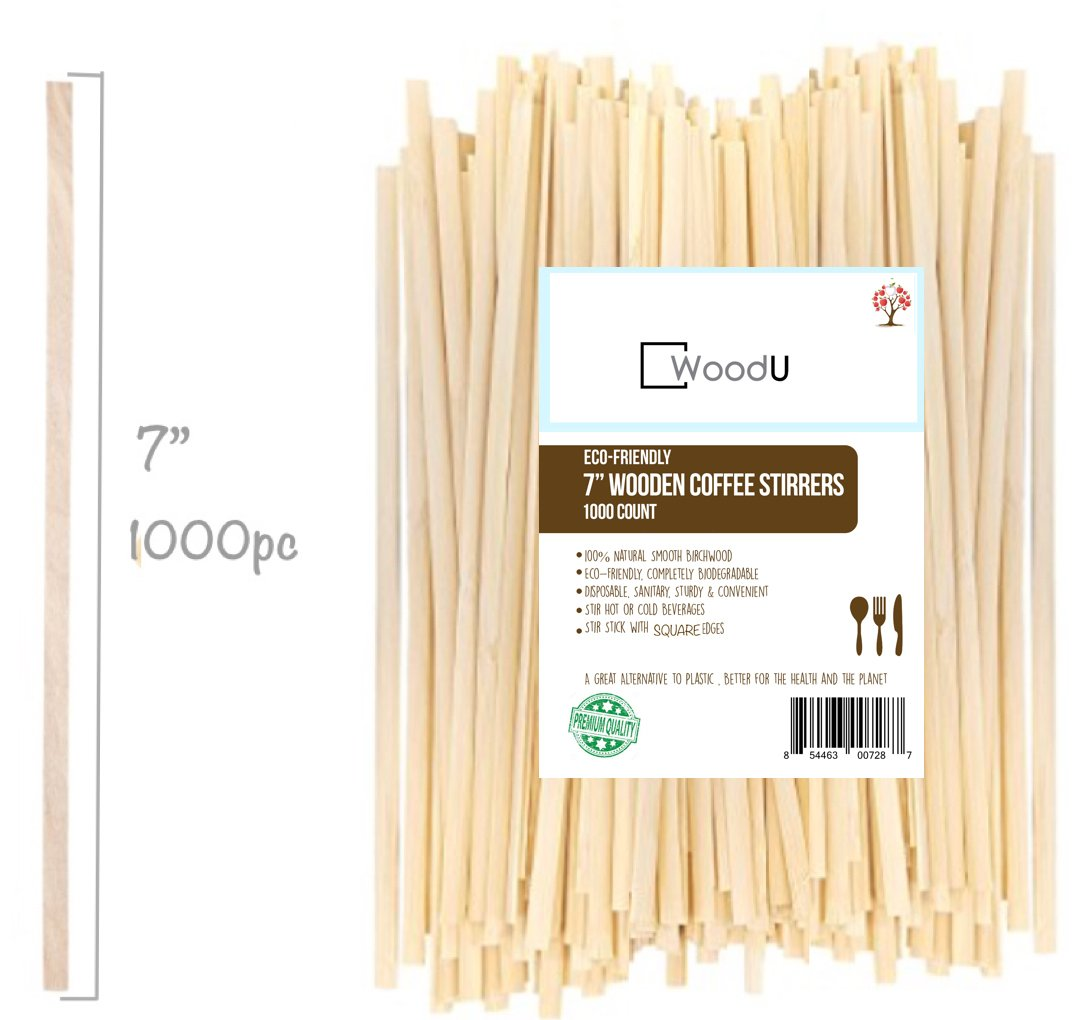 """Wooden Coffee Beverage Stirrers, Square Coffee Stir Sticks 7""""(1000pc) Eco-Friendly Completely Biodegradable, Coffee Stirrers For Hot & Cold Beverages as Coffee & Tea, Alternative to Plastic Stirrers"""