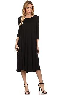8b45e8a08c5 Women s Solid Print Casual Basic Comfy 3 4 Sleeve A-line Midi Dress