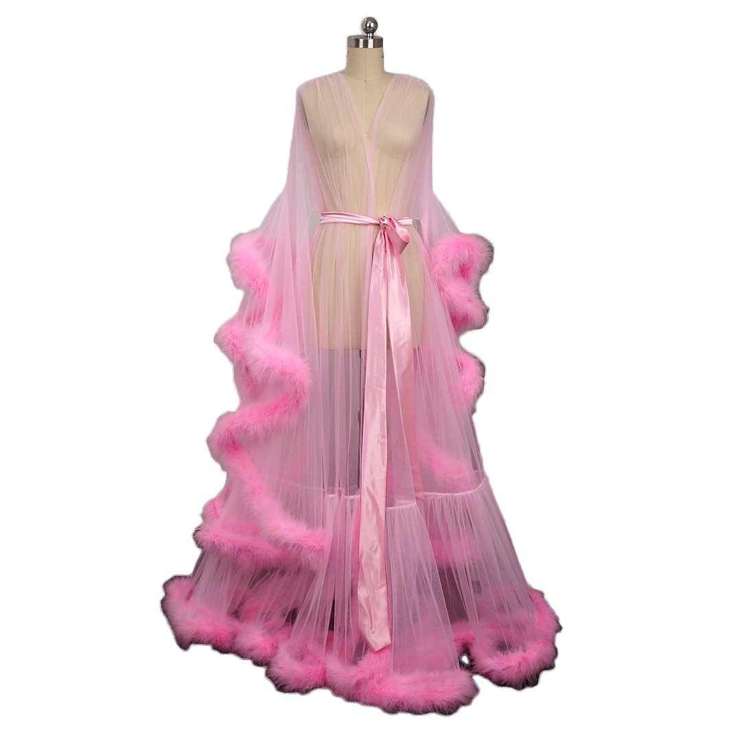 Pink Feather Bridal Robe Tulle Illusion Long Wedding Scarf New Custom Made