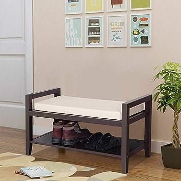 Terrific Amazon Com Wood Shoe Bench Storage Rack Cushion Seat Ncnpc Chair Design For Home Ncnpcorg