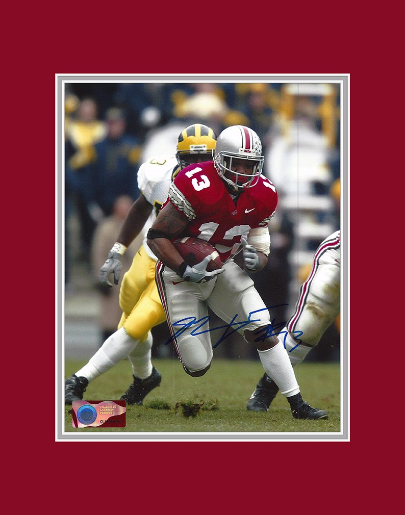 Maurice Clarett Autographed Ohio State Buckeyes 8x10 Photograph with Mat - Highlight Reel - Certified Authentic - Autographed Photos Ohio Sports Group
