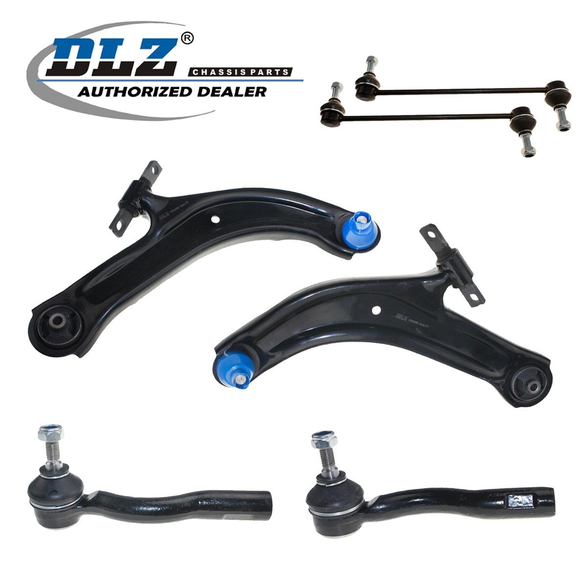 DLZ 6 Pcs Front Suspension Kit-2 Lower Control Arm Ball Joint Assembly 2 Sway Bar 2 Outer Tie Rod End Compatible with 2007 2008 2009 2010 2011 2012 Nissan Sentra ES800574 ES800575 K620373 K750096