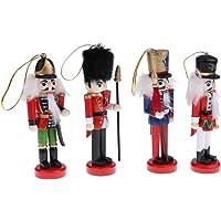 gazechimp 4/5/6Pcs Bonecos De Madeira Decoração Quebra-nozes Artesanato Artesanato Presentes De Natal - 4pcs vermelho