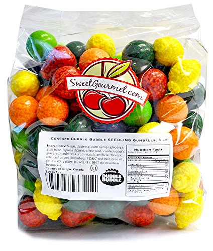 Concord Dubble Bubble Seedling Gum Gumballs (Filled), 3Lb