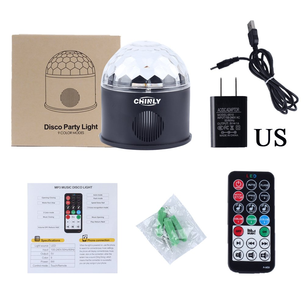 CHINLY LED Disco Ball Light MP3 Music Bluetooth Speaker USB Portable 9W 9color Modes Dance Hall Strobe Light Mini LED Stage Light Party Light for Wedding Party Bar Club DJ KTV (with Remote & US Plug) by CHINLY (Image #4)