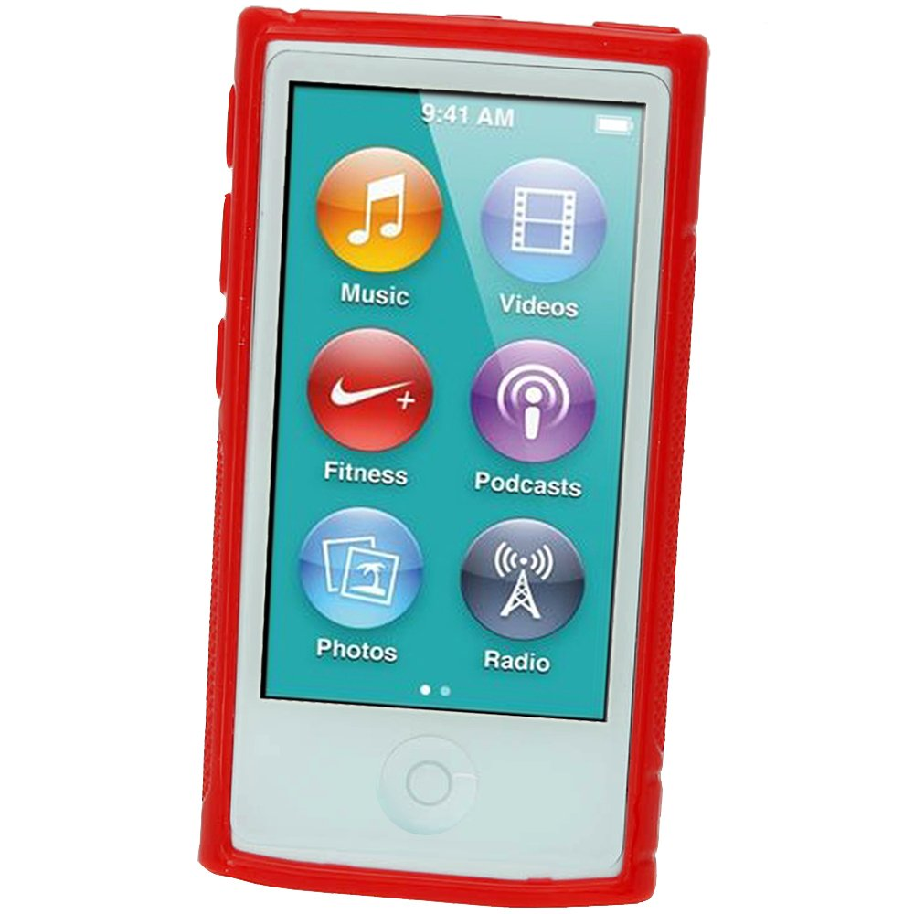 Case Cover for Apple iPod Nano 7th Generation 7G 16GB TPU Screen Protector iGadgitz Dual Tone Red Durable Crystal Gel Skin