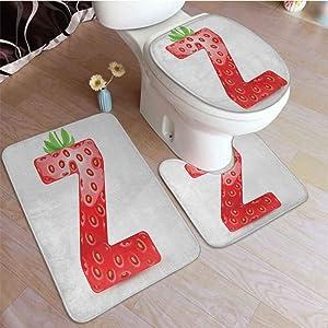 DESPKON Letter Z, 3 Pcs Washroom Rug Set Gourmet Food Tasty Summer Fruits Inspired Alphabet Z Typescript Design Toilet Bath Rugs Mats Non-Slip, Machine-Washable Vermilion Green Orange