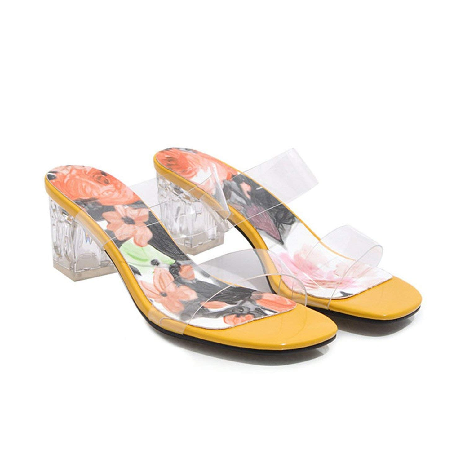 YELLOW coolemon Summer Slippers Women shoes Flower Square High Heel shoes Transparent Open Toe Slides Ladies Sandals Pink Plus Size 3-12